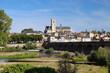 Stadtpanorama von Nevers an der Loire