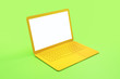 Leinwanddruck Bild - Minimal concept with blank white mock up yellow laptop screen at abstract light green background.