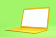 Leinwanddruck Bild - Minimal concept with blank white mock up yellow laptop screen at light green background.