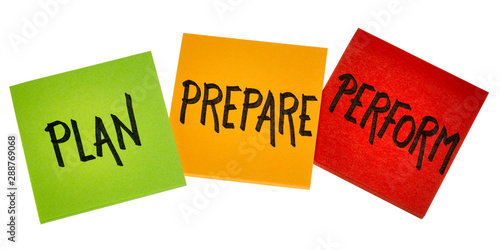 Fotografia plan, prepare, perform - business concept