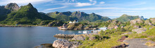Panorama Of Fishing Village On Lofotens, Norway, Aerial, Panorama, Vacation Concept