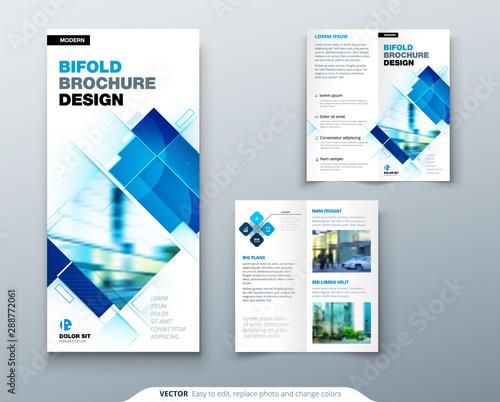 Bi fold brochure design with square shapes, corporate business template for bi fold flyer Fototapet