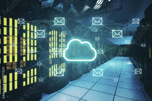 Cloud computing service with digital cloud and mailicons at server room background.