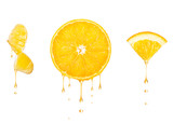 Drops of juice drip from cut pieces of orange, isolated on white background