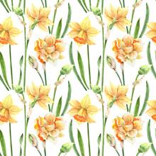 Pattern Yellow Flowers Daffodi...