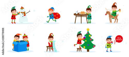 Fotografia, Obraz  Vector set of flat cute cartoon Christmas elves