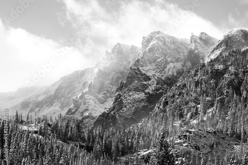 Black and white mountains in Rocky Mountain National Park