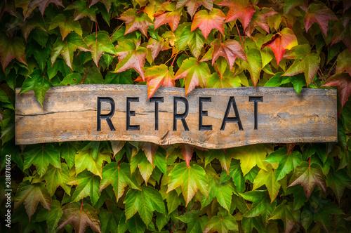 Photo  Rustic Wooden Spiritual Retreat Sign