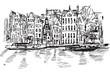 Rysynek ręcznie rysowany. Kanał w Amsterdamie