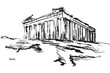 Rysynek ręcznie rysowany. Akropol w Atenach