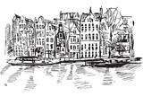Fototapeta Miasto - Rysynek ręcznie rysowany. Kanał w Amsterdamie