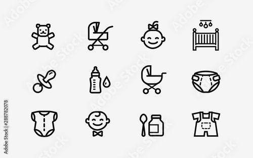 Fotografiet  Baby products icon set