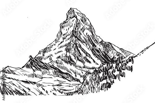 Rysynek ręcznie rysowany.  Widok na górę Matterhorn w Alpach Wallpaper Mural