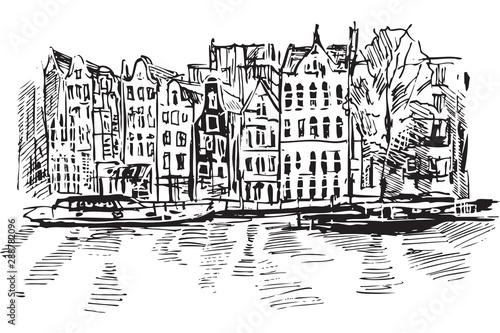 Fototapeta Rysynek ręcznie rysowany. Kanał w Amsterdamie obraz