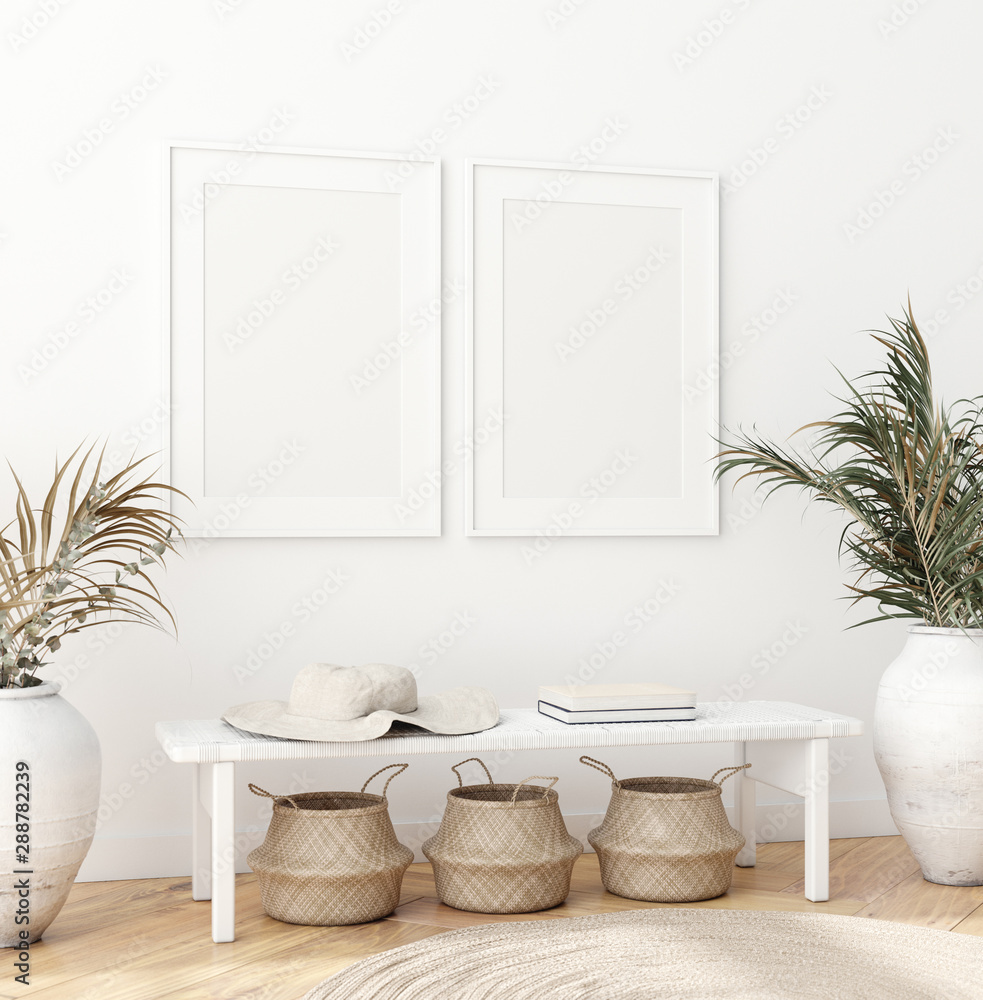 Fototapeta Mock up poster in Scandinavian interior with bench, baskets and palm branches in pots, 3d render