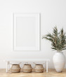 canvas print picture Mock up poster in Scandinavian interior with bench, baskets and palm branches in pots, 3d render