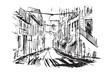 Rysynek ręcznie rysowany. Stara uliczka w Lizbonie w Porugali