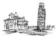 Rysynek ręcznie rysowany. Historyczne centrum miasta w Pizie we Włoszech w Toskanii.