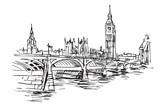 Fototapeta London - Rysynek ręcznie rysowany. Centrum Londyny z mostem i wieża Big Ben