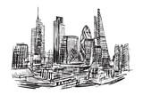 Fototapeta London - Rysynek ręcznie rysowany. Nowoczesna dzielnica Londynu