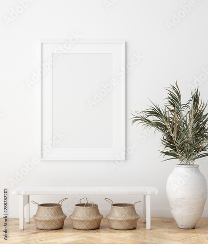 fototapeta na lodówkę Mock up poster in Scandinavian interior with bench, baskets and palm branches in pots, 3d render