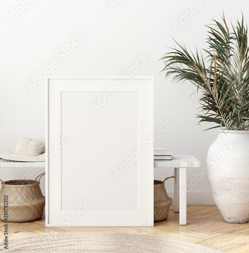 Obraz na plátně  Mock up poster in Scandinavian interior with bench, baskets and palm branches in