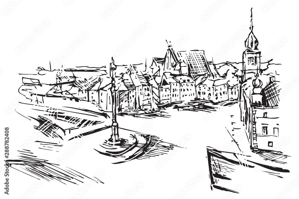 Obraz Rysynek ręcznie rysowany. Widok Plac Zamkowy w Warszawie w Polsce fototapeta, plakat