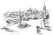 Rysynek ręcznie rysowany. Widok Plac Zamkowy w Warszawie w Polsce