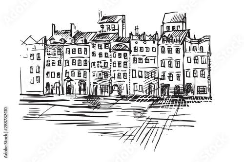 Fototapeta Rysynek ręcznie rysowany. Widok na Starówkę w Warszawie w Polsce obraz