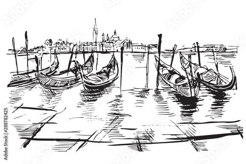 Fototapeta Rysynek ręcznie rysowany. Widok na plac świętego MArka w Wenecji we Włoszech obraz