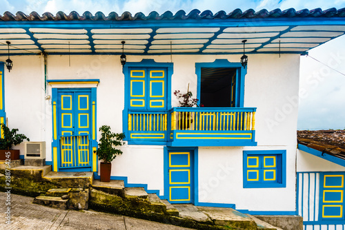 View on colourful colonial balcony of old town of Salento in Colombia