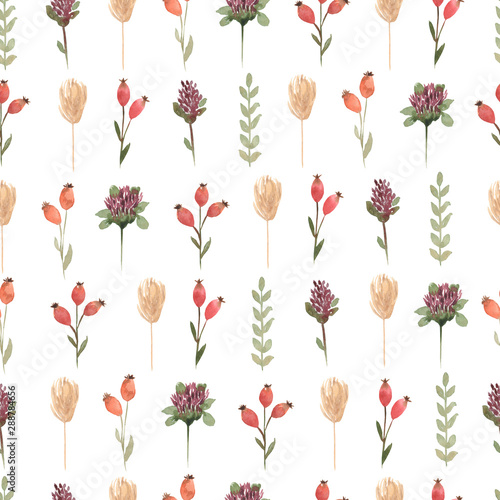Watercolor  wildflower floral pattern, delicate flower wallpaper with different wild flowers , wildflowers background with splashes. Retro style. - 288784656