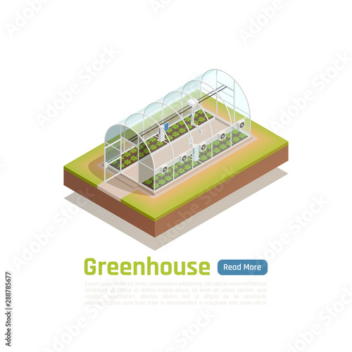 Modern Greenhouse Technology Isometric View Wallpaper Mural