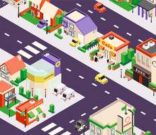 Urban Buildings Isometric Composition