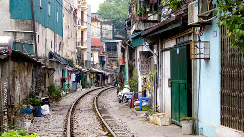 Wall Murals Old building railroad track in hanoi vietnam