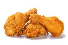 Fried Yellow Crispy Spicy Chicken Legs On White Background