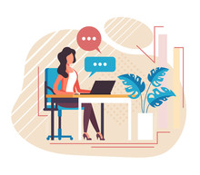 Secretary Receptionist Office Worker Character Working. Vector Flat Cartoon Graphic Design Illustration