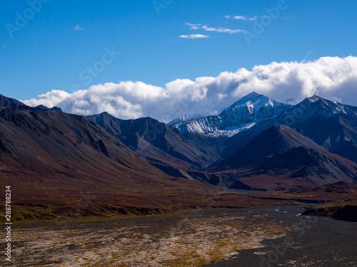 Aluminium Prints Salmon Mountains, Braided River and Autumn Tundra in Alaska, Denali National Park
