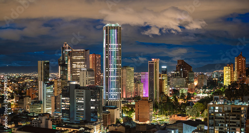 Cuadros en Lienzo  Bogota City Capital of Colombia Skyline Night Photography Pano