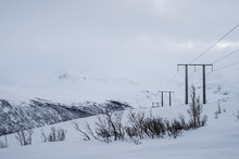 Electric Poles In The Snow