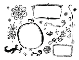 Hand drawn line, border, frame vector design element set. Template for invitation or greeting card