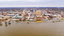 Aerial View Davenport Iowa Waterfront Mississippi River Flooding