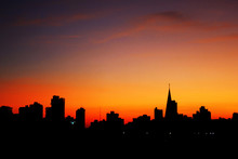 Sunrise With City Silhouette Showing The Buildings And The Catheral In Maringa, Parana, Brazil