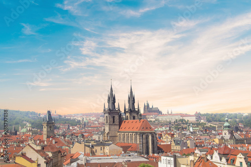 Beautiful view of the Old Town Square, and Tyn Church and St Canvas Print