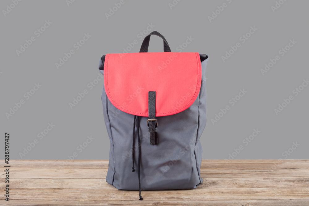 Fototapety, obrazy: red backpack  on white background