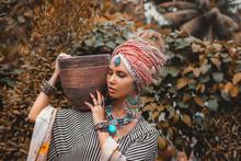 Close Up Portrait Of Beautiful Stylish Woman Wearing Turban