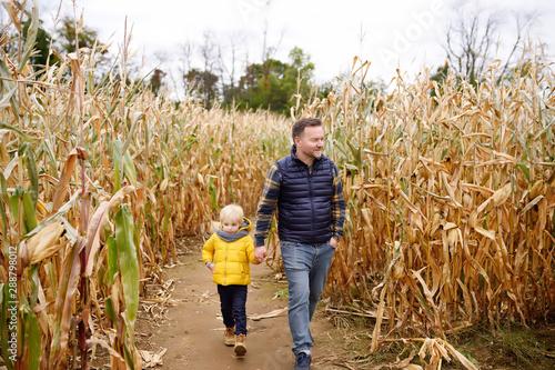 Fotografia  Little boy and his father having fun on pumpkin fair at autumn