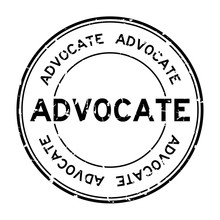 Grunge Black Advocate Word Round Rubber Seal Business Stamp On White Background