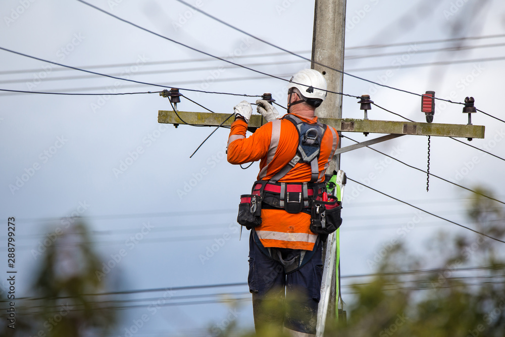 Fototapeta A linesman with a power company connects a new house in a rural area to the main network