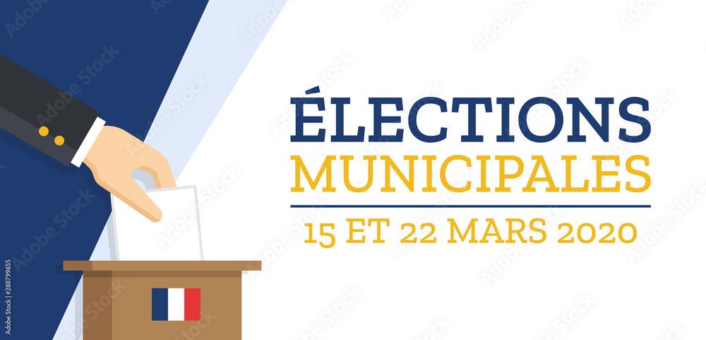 Fototapeta Élections Municipales 2020 en France - 15 et 22 Mars 2020